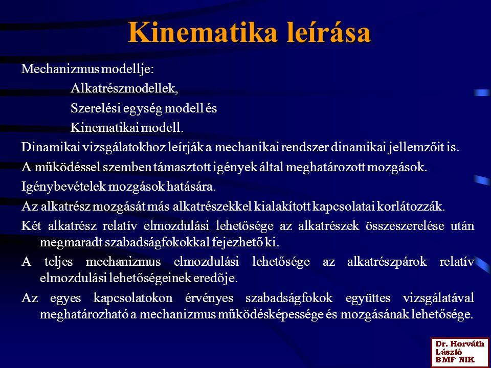 Kinematika leírása Mechanizmus modellje: Alkatrészmodellek, Szerelési egység modell és Kinematikai modell. Dinamikai vizsgálatokhoz leírják a mechanik