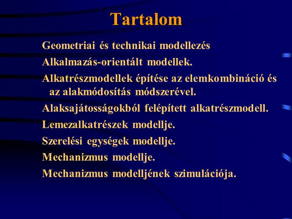 Tartalom Geometriai és technikai modellezés Alkalmazás-orientált modellek. Alkatrészmodellek építése az elemkombináció és az alakmódosítás módszerével