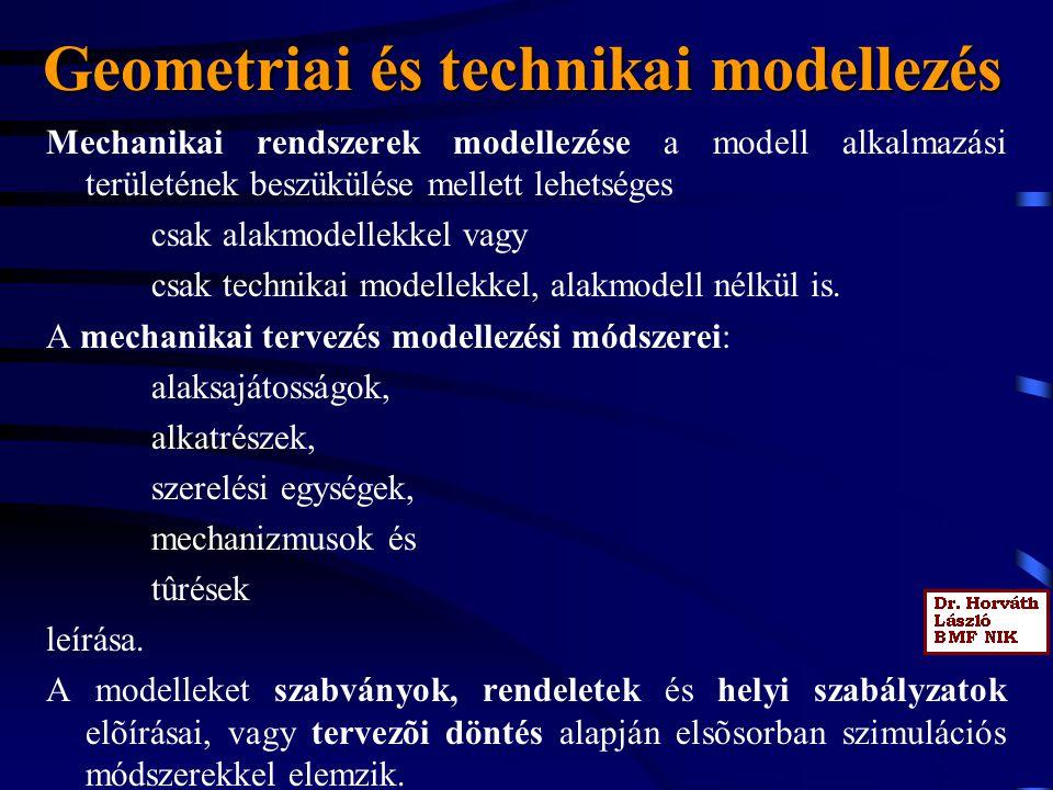 Geometriai és technikai modellezés Mechanikai rendszerek modellezése a modell alkalmazási területének beszükülése mellett lehetséges csak alakmodellek