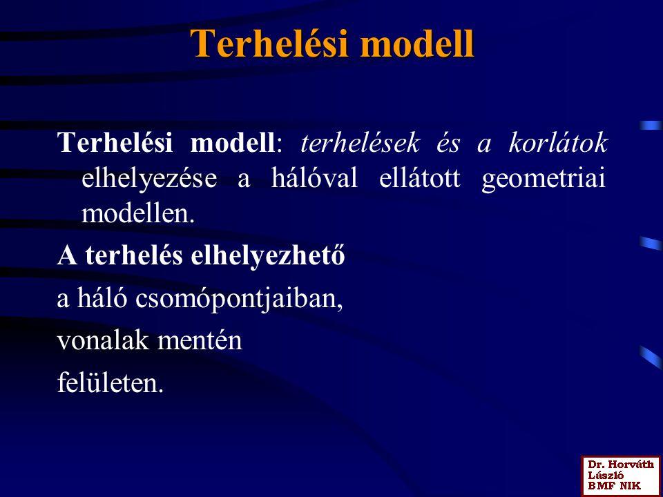 Terhelési modell Terhelési modell: terhelések és a korlátok elhelyezése a hálóval ellátott geometriai modellen. A terhelés elhelyezhető a háló csomópo