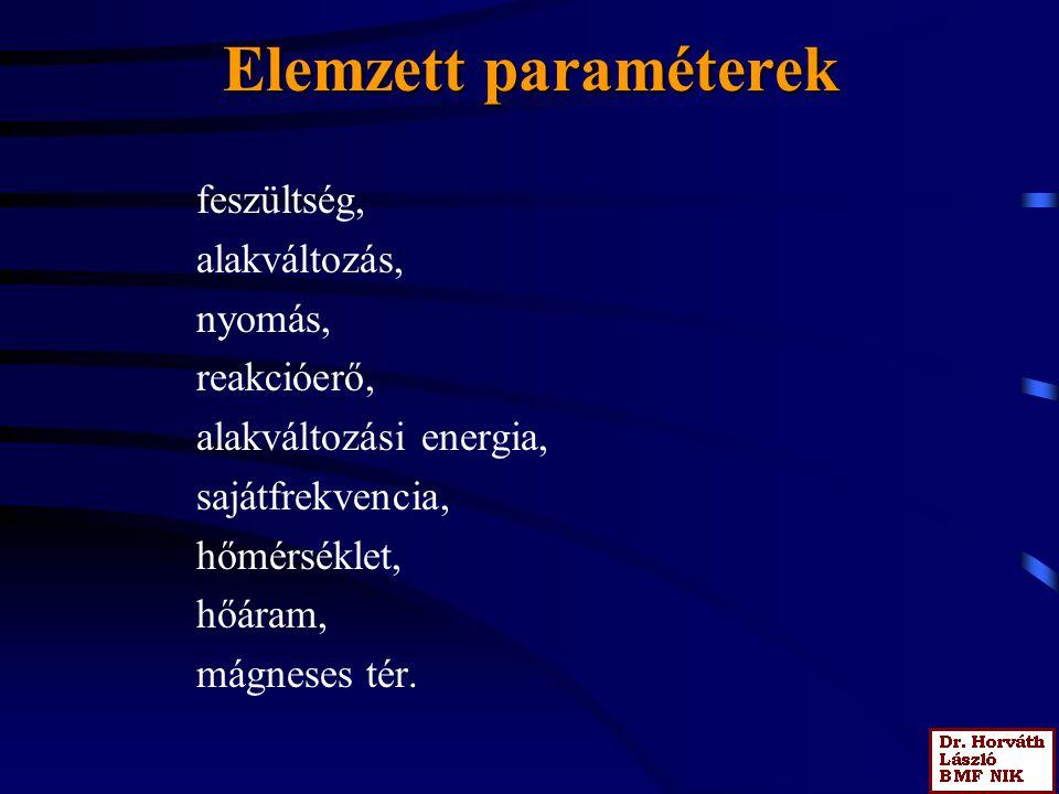 Elemzett paraméterek feszültség, alakváltozás, nyomás, reakcióerő, alakváltozási energia, sajátfrekvencia, hőmérséklet, hőáram, mágneses tér.