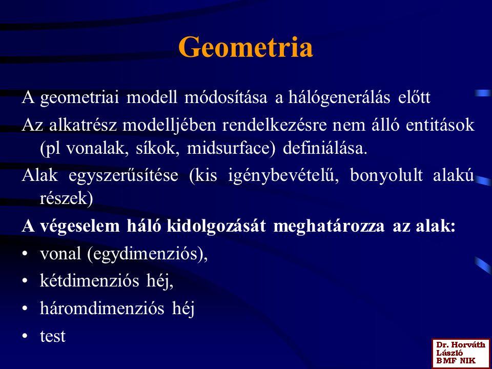 Geometria A geometriai modell módosítása a hálógenerálás előtt Az alkatrész modelljében rendelkezésre nem álló entitások (pl vonalak, síkok, midsurface) definiálása.