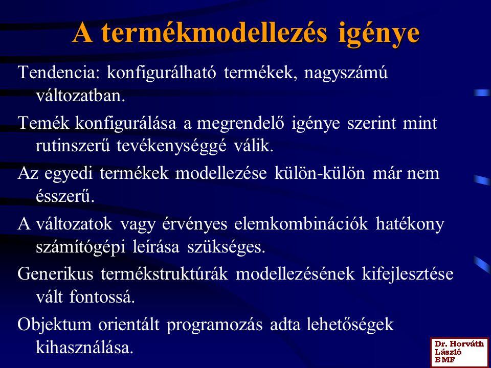 A termékmodellezés igénye Tendencia: konfigurálható termékek, nagyszámú változatban. Temék konfigurálása a megrendelő igénye szerint mint rutinszerű t