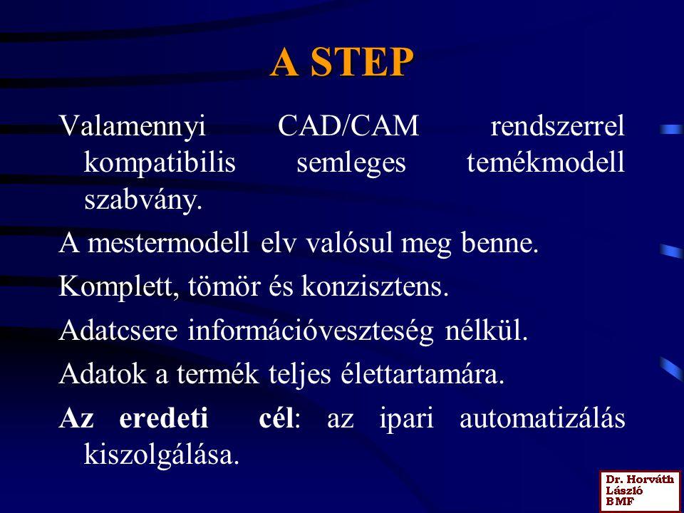 A STEP Valamennyi CAD/CAM rendszerrel kompatibilis semleges temékmodell szabvány. A mestermodell elv valósul meg benne. Komplett, tömör és konzisztens