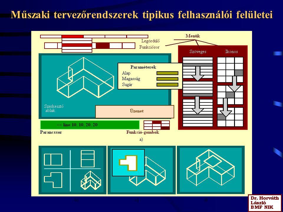 Műszaki tervezőrendszerek tipikus felhasználói felületei