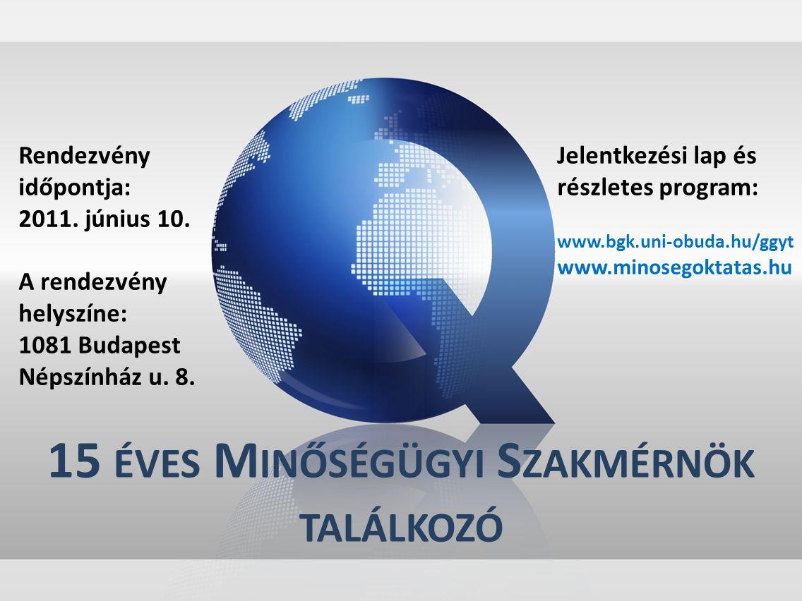 15 ÉVES M INŐSÉGÜGYI S ZAKMÉRNÖK TALÁLKOZÓ Rendezvény időpontja: 2011. június 10. A rendezvény helyszíne: 1081 Budapest Népszínház u. 8. Jelentkezési
