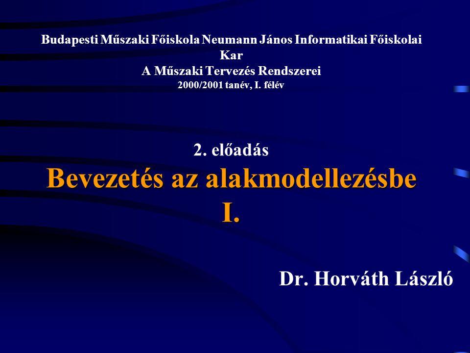 Bevezetés az alakmodellezésbe I. Budapesti Műszaki Főiskola Neumann János Informatikai Főiskolai Kar A Műszaki Tervezés Rendszerei 2000/2001 tanév, I.
