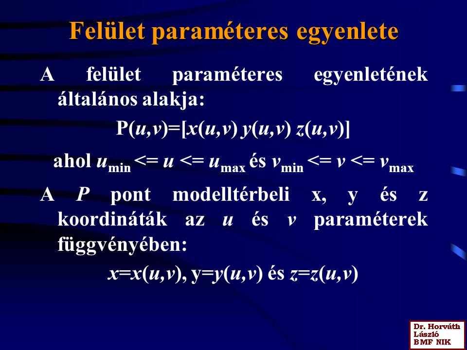 Felület paraméteres egyenlete A felület paraméteres egyenletének általános alakja: P(u,v)=[x(u,v) y(u,v) z(u,v)] ahol u min <= u <= u max és v min <=