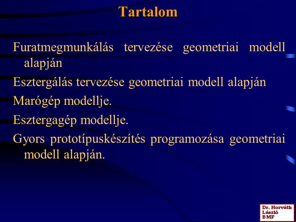 Tartalom Furatmegmunkálás tervezése geometriai modell alapján Esztergálás tervezése geometriai modell alapján Marógép modellje.