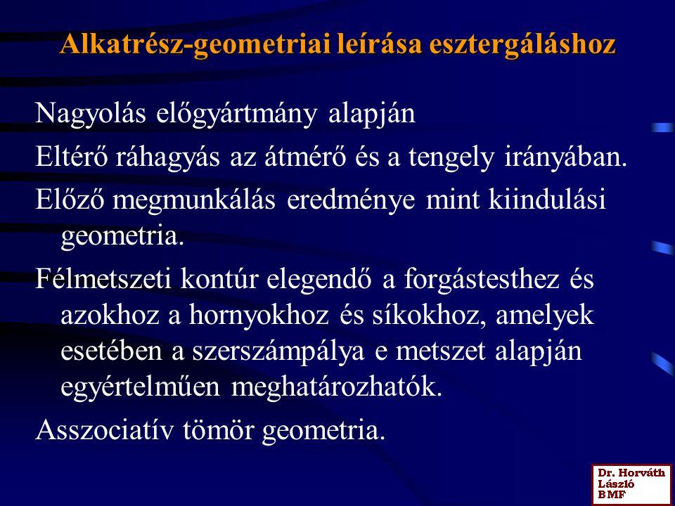 Alkatrész-geometriai leírása esztergáláshoz Nagyolás előgyártmány alapján Eltérő ráhagyás az átmérő és a tengely irányában.