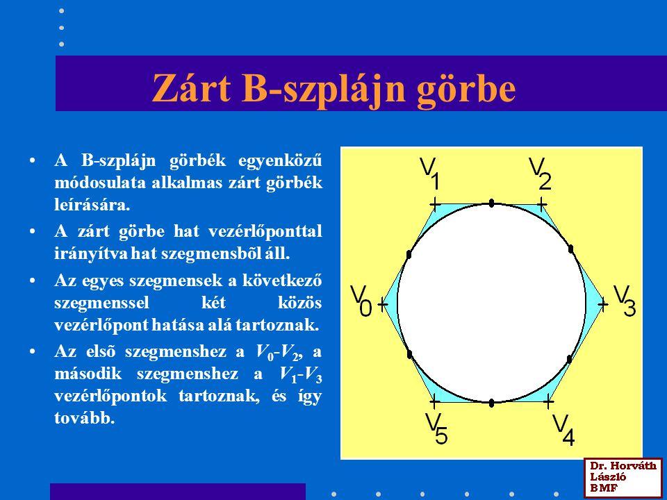 Zárt B-szplájn görbe A B-szplájn görbék egyenközű módosulata alkalmas zárt görbék leírására. A zárt görbe hat vezérlőponttal irányítva hat szegmensbõl
