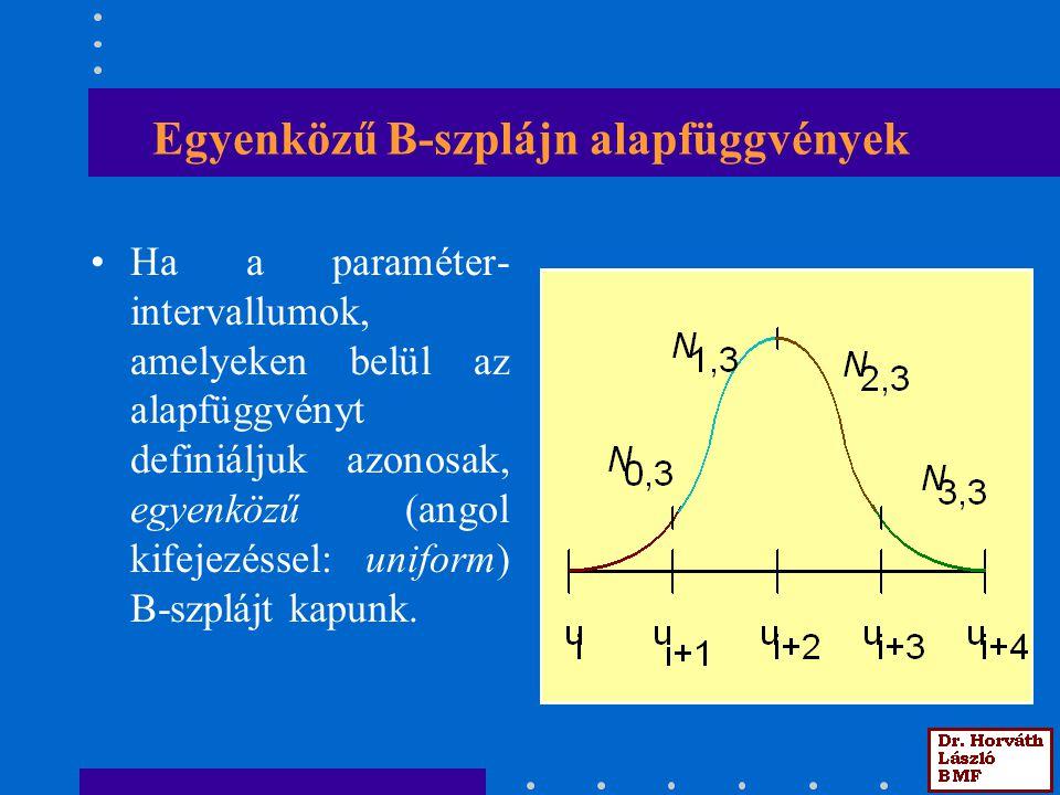 Egyenközű B-szplájn alapfüggvények Ha a paraméter- intervallumok, amelyeken belül az alapfüggvényt definiáljuk azonosak, egyenközű (angol kifejezéssel