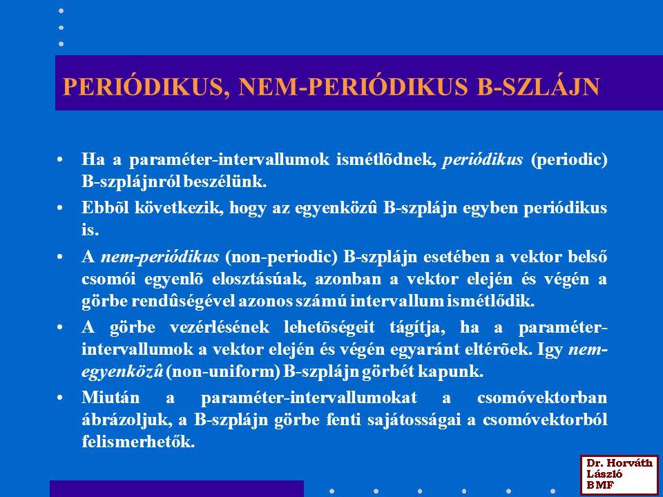 PERIÓDIKUS, NEM-PERIÓDIKUS B-SZLÁJN Ha a paraméter-intervallumok ismétlõdnek, periódikus (periodic) B-szplájnról beszélünk. Ebbõl következik, hogy az