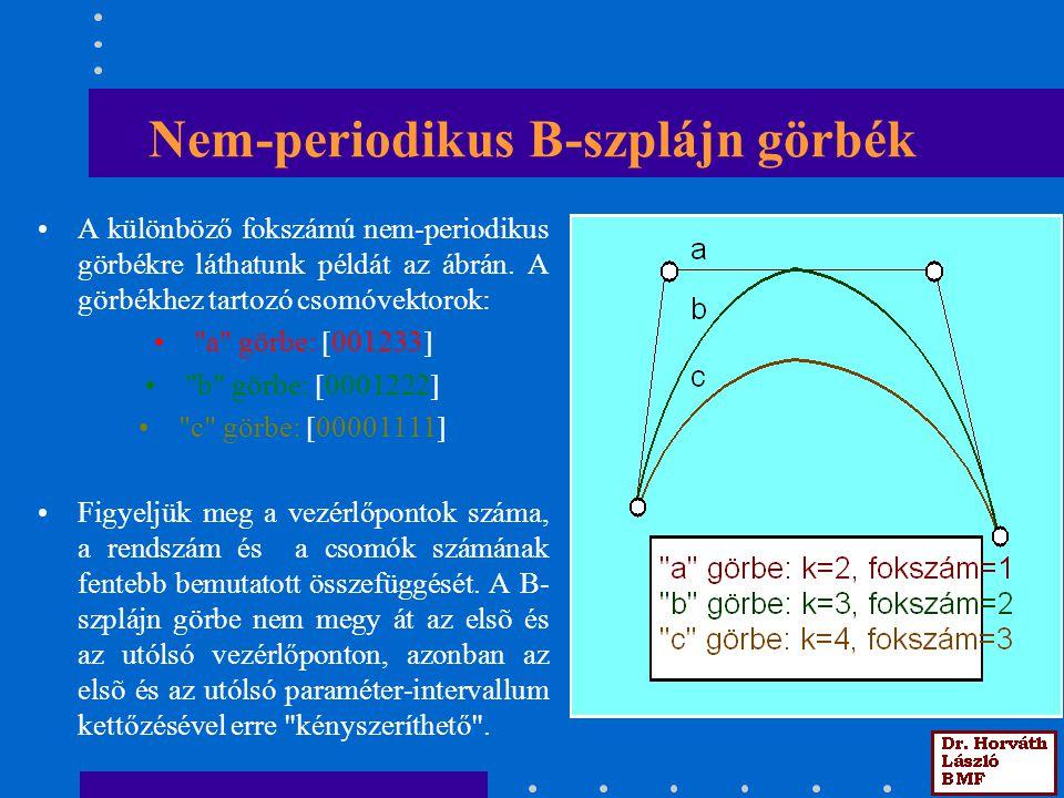 Nem-periodikus B-szplájn görbék A különböző fokszámú nem-periodikus görbékre láthatunk példát az ábrán. A görbékhez tartozó csomóvektorok: