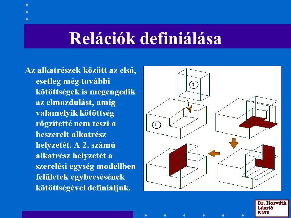 Relációk definiálása Az alkatrészek között az első, esetleg még további kötöttségek is megengedik az elmozdulást, amíg valamelyik kötöttség rögzítetté
