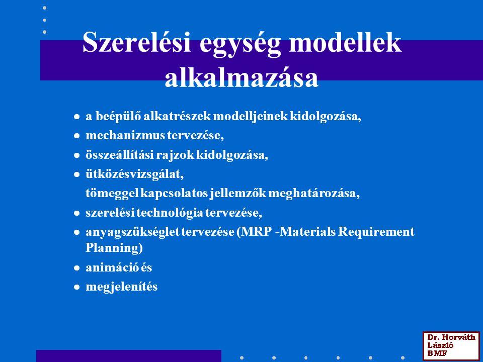 Szerelési egység modellek alkalmazása  a beépülő alkatrészek modelljeinek kidolgozása,  mechanizmus tervezése,  összeállítási rajzok kidolgozása, 
