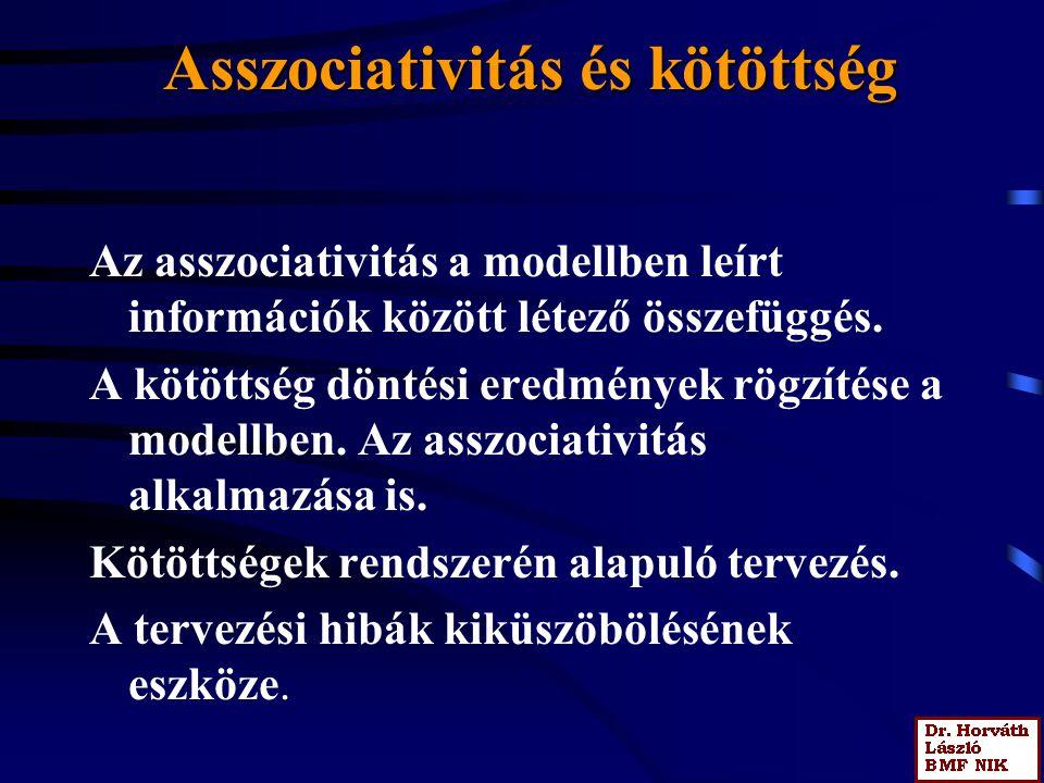 Asszociativitás és kötöttség Az asszociativitás a modellben leírt információk között létező összefüggés. A kötöttség döntési eredmények rögzítése a mo