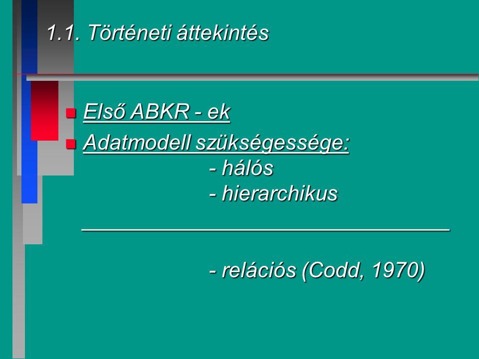 1.1. Történeti áttekintés n Első ABKR - ek n Adatmodell szükségessége: - hálós - hierarchikus _______________________________ - relációs (Codd, 1970)