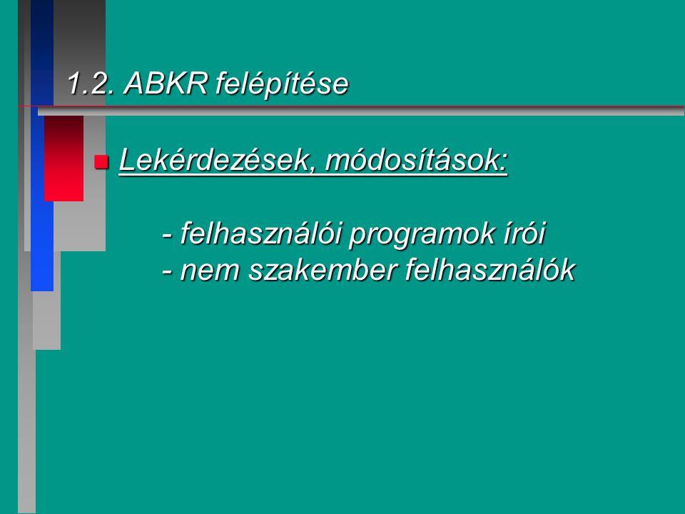 1.2. ABKR felépítése n Lekérdezések, módosítások: - felhasználói programok írói - nem szakember felhasználók