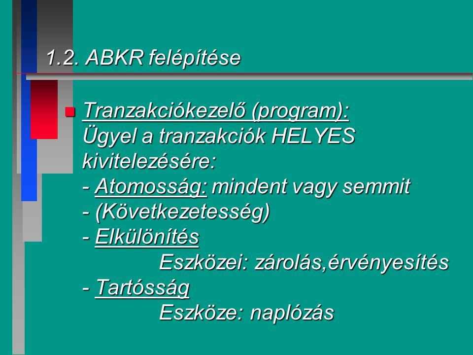 1.2. ABKR felépítése n Tranzakciókezelő (program): Ügyel a tranzakciók HELYES kivitelezésére: - Atomosság: mindent vagy semmit - (Következetesség) - E