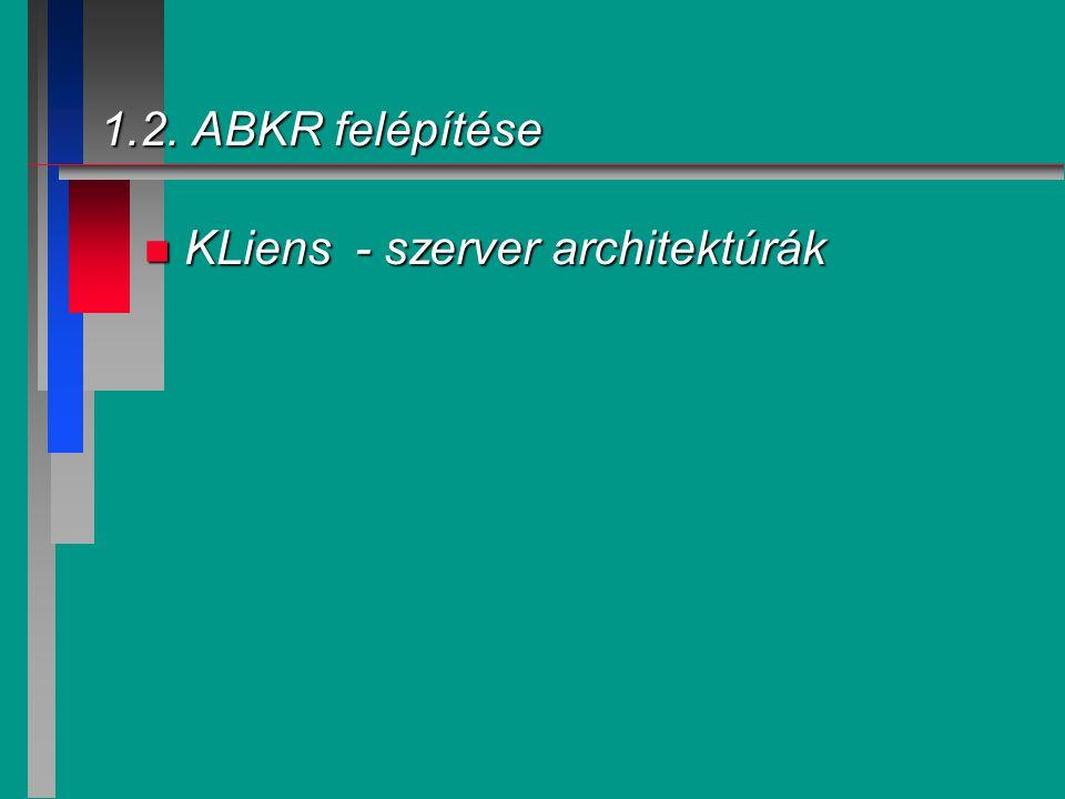 1.2. ABKR felépítése n KLiens - szerver architektúrák