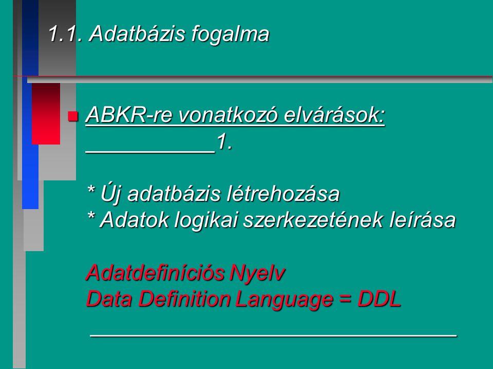 1.1. Adatbázis fogalma n ABKR-re vonatkozó elvárások: 1. * Új adatbázis létrehozása * Adatok logikai szerkezetének leírása Adatdefiníciós Nyelv Data D