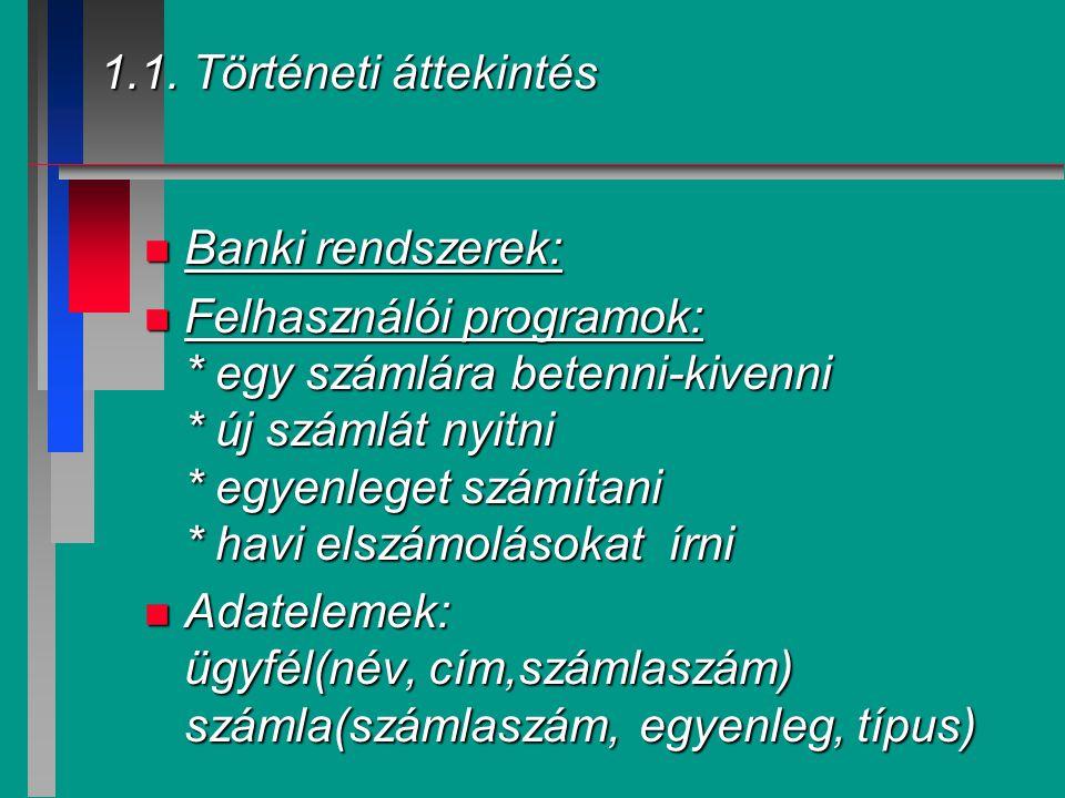 1.1. Történeti áttekintés n Banki rendszerek: n Felhasználói programok: * egy számlára betenni-kivenni * új számlát nyitni * egyenleget számítani * ha