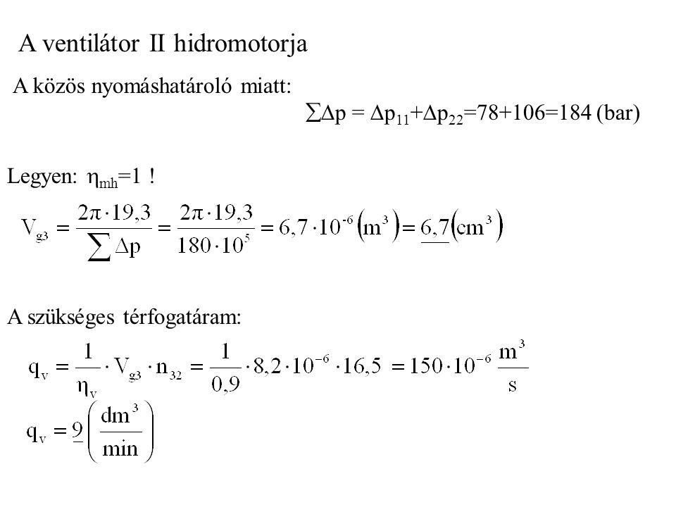 A ventilátor II hidromotorja A közös nyomáshatároló miatt:  p =  p 11 +  p 22 =78+106=184 (bar) Legyen:  mh =1 .
