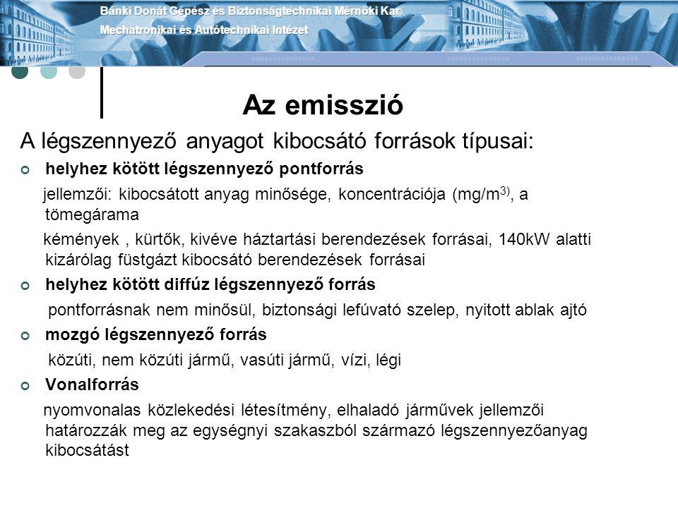 Levegőtisztaság-védelmi határértékek A levegőtisztaság-védelmi határértékek fajtái: Immissziós határértékek (A légszennyezettség határértékei) Emissziós határértékek (Helyhez kötött pontforrásokra vonatkozik) A légszennyezettség határértékei A légszennyezettség határértéke lehet: egészségügyi határérték: a légszennyezettségnek a tudomány mindenkori szintje alapján megállapított azon mértéke, amely tartós egészségkárosodást nem okoz ökológiai határérték: a légszennyezettség azon szintje, amely túllépése esetén az ökológiai rendszer károsodhat