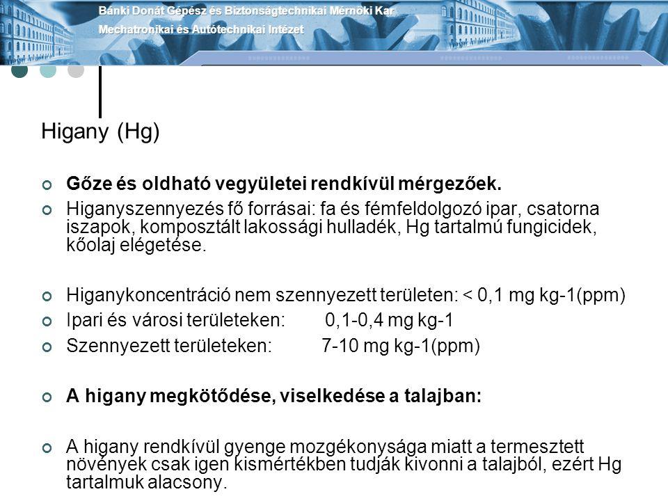 Higany (Hg) Gőze és oldható vegyületei rendkívül mérgezőek. Higanyszennyezés fő forrásai: fa és fémfeldolgozó ipar, csatorna iszapok, komposztált lako