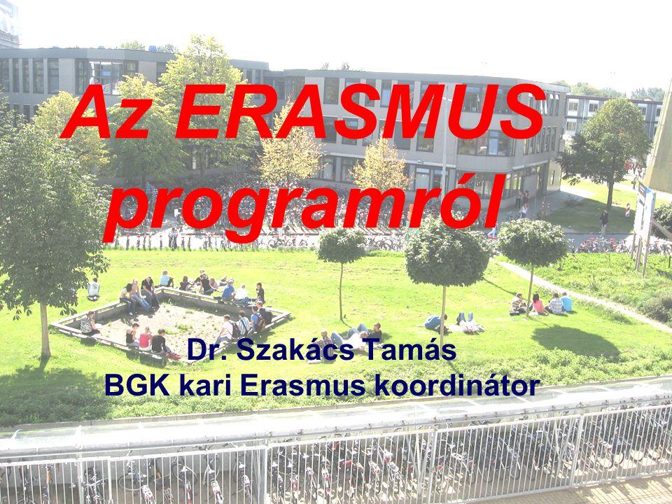 Az ERASMUS programról Dr. Szakács Tamás BGK kari Erasmus koordinátor