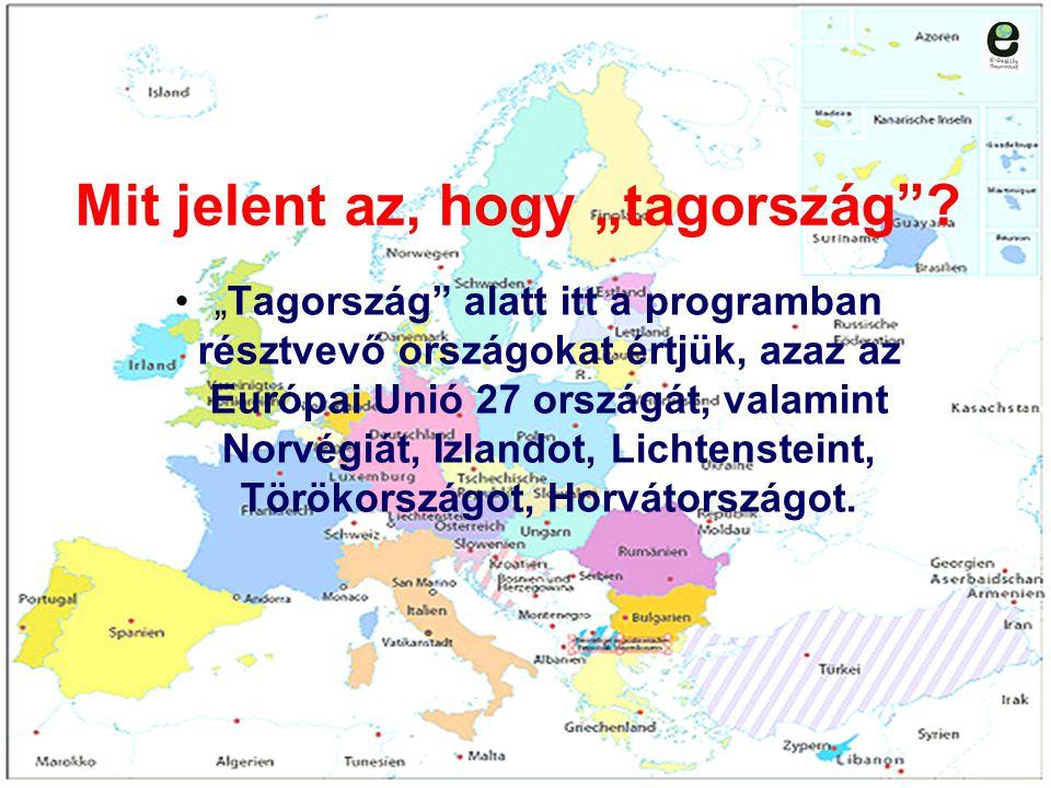 """Mit jelent az, hogy """"tagország""""? """"Tagország"""" alatt itt a programban résztvevő országokat értjük, azaz az Európai Unió 27 országát, valamint Norvégiát,"""