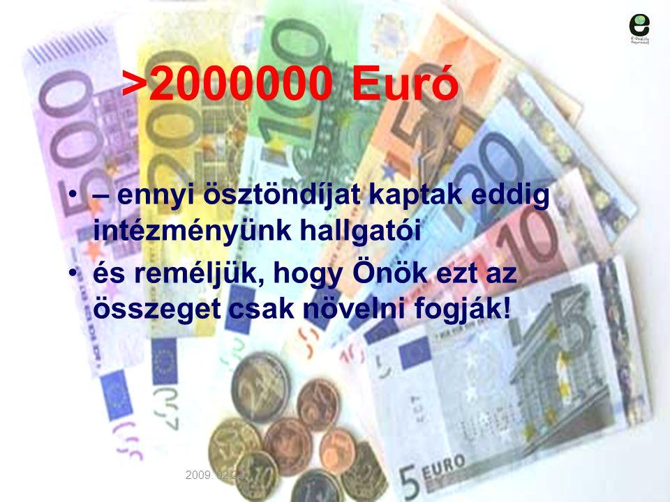 >2000000 Euró – ennyi ösztöndíjat kaptak eddig intézményünk hallgatói és reméljük, hogy Önök ezt az összeget csak növelni fogják! 2009. 02.24.