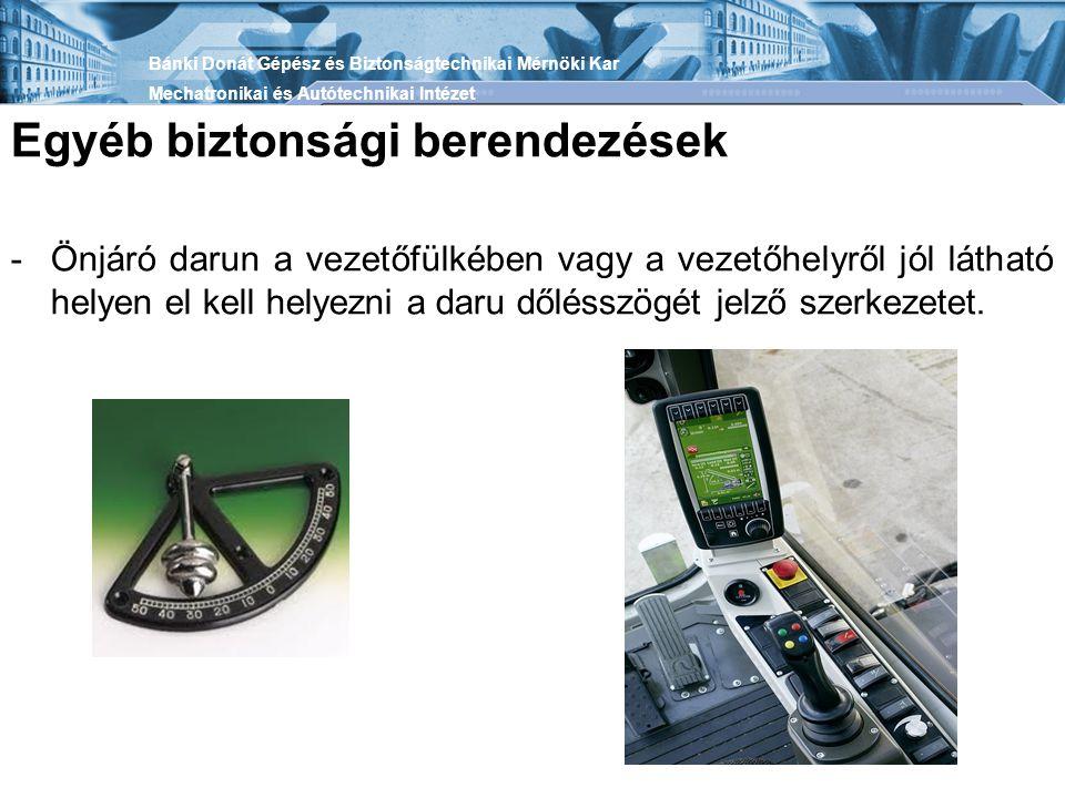 Egyéb biztonsági berendezések -Önjáró darun a vezetőfülkében vagy a vezetőhelyről jól látható helyen el kell helyezni a daru dőlésszögét jelző szerkezetet.