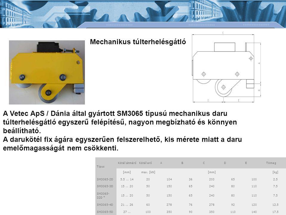 A Vetec ApS / Dánia által gyártott SM3065 típusú mechanikus daru túlterhelésgátló egyszerű felépítésű, nagyon megbízható és könnyen beállítható.