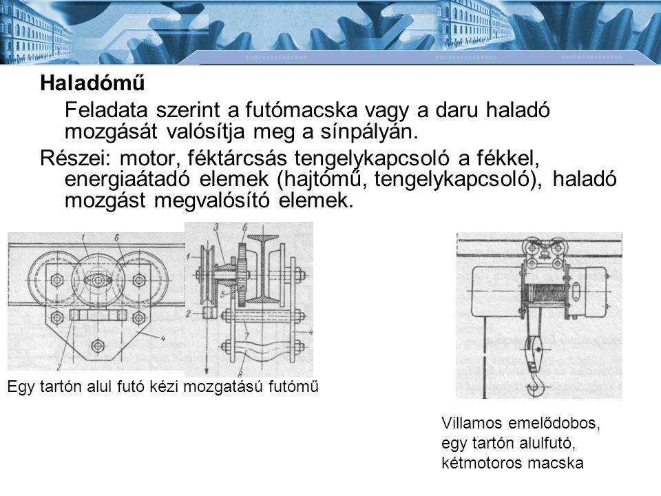 Haladómű Feladata szerint a futómacska vagy a daru haladó mozgását valósítja meg a sínpályán. Részei: motor, féktárcsás tengelykapcsoló a fékkel, ener
