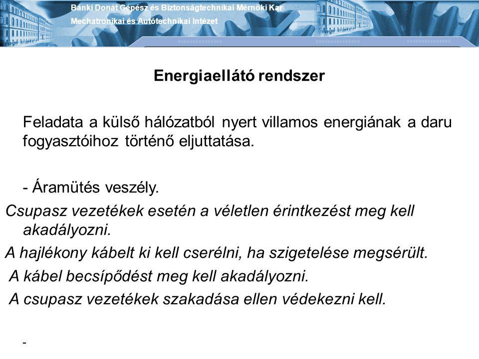 Bánki Donát Gépész és Biztonságtechnikai Mérnöki Kar Mechatronikai és Autótechnikai Intézet Energiaellátó rendszer Feladata a külső hálózatból nyert v