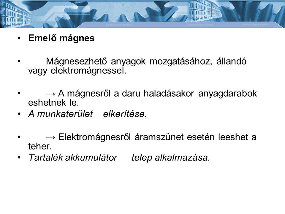 Emelő mágnes Mágnesezhető anyagok mozgatásához, állandó vagy elektromágnessel. → A mágnesről a daru haladásakor anyagdarabok eshetnek le. A munkaterül
