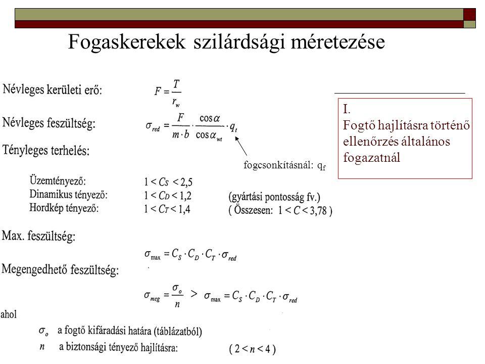I. Fogtő hajlításra történő ellenőrzés általános fogazatnál Fogaskerekek szilárdsági méretezése fogcsonkításnál: q f