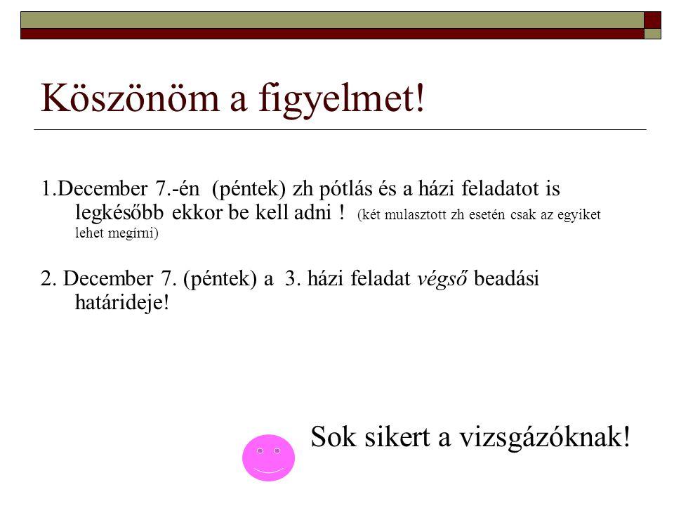 Köszönöm a figyelmet! 1.December 7.-én (péntek) zh pótlás és a házi feladatot is legkésőbb ekkor be kell adni ! (két mulasztott zh esetén csak az egyi