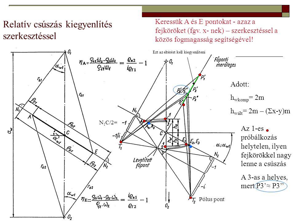 Relatív csúszás kiegyenlítés szerkesztéssel N 1 C/2= Pólus pont Keressük A és E pontokat - azaz a fejköröket (fgv. x- nek) – szerkesztéssel a közös fo