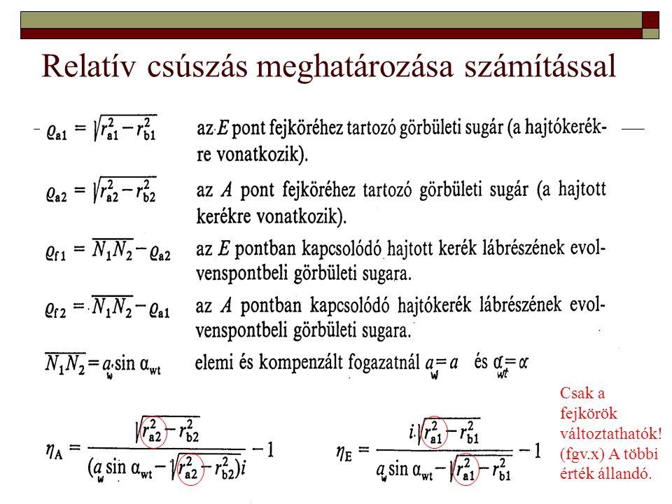 Relatív csúszás meghatározása számítással Csak a fejkörök változtathatók! (fgv.x) A többi érték állandó.