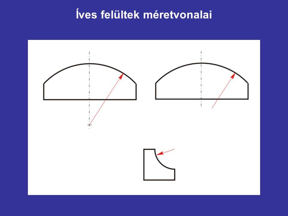 A méret-segédvonal Formája: vékony vonal Célja: kivetített méretek jelzése