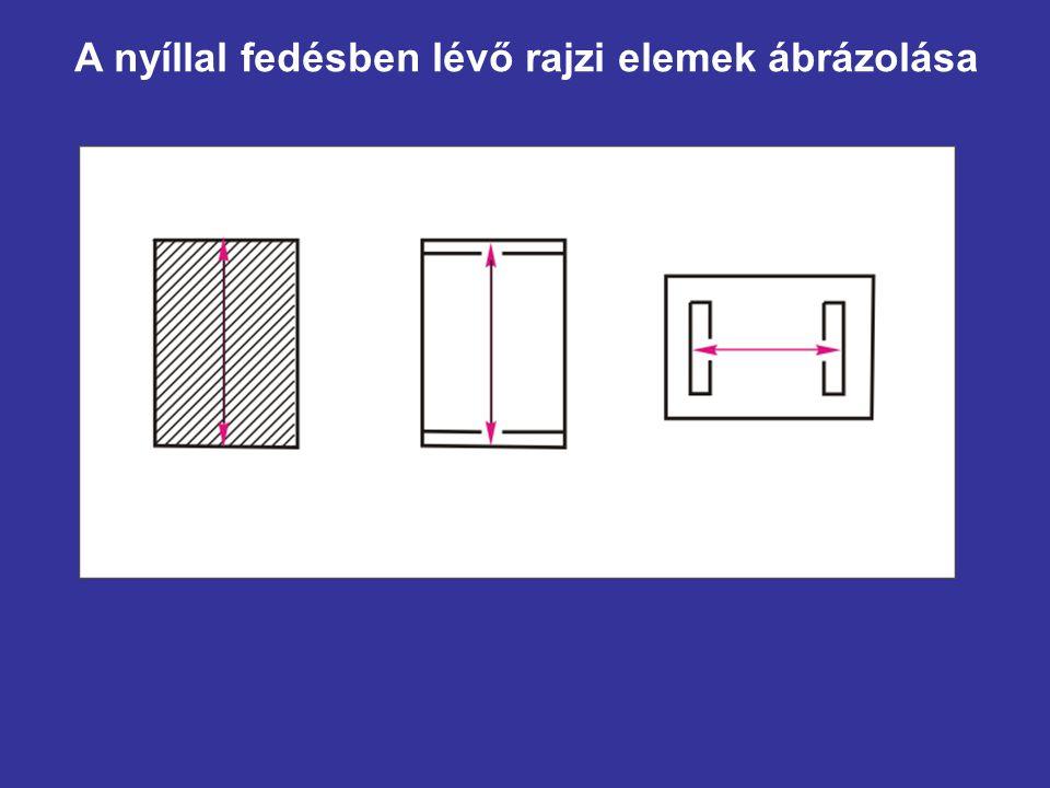 A mutatóvonal Formája: vékony vonal (0,35 mm) Célja: a kiemelt szöveg (méret) helyzetének jelölése