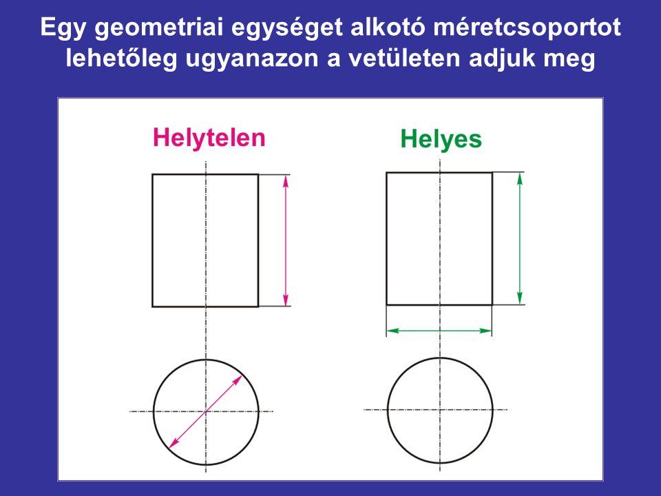 Összeállítási rajzon a különböző alkatrészek mérethálózata lehetőleg alkosson elkülönülő csoportokat