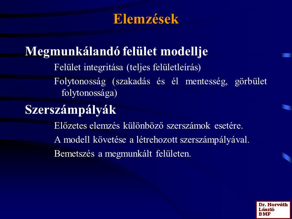 Elemzések Megmunkálandó felület modellje Felület integritása (teljes felületleírás) Folytonosság (szakadás és él mentesség, görbület folytonossága) Sz