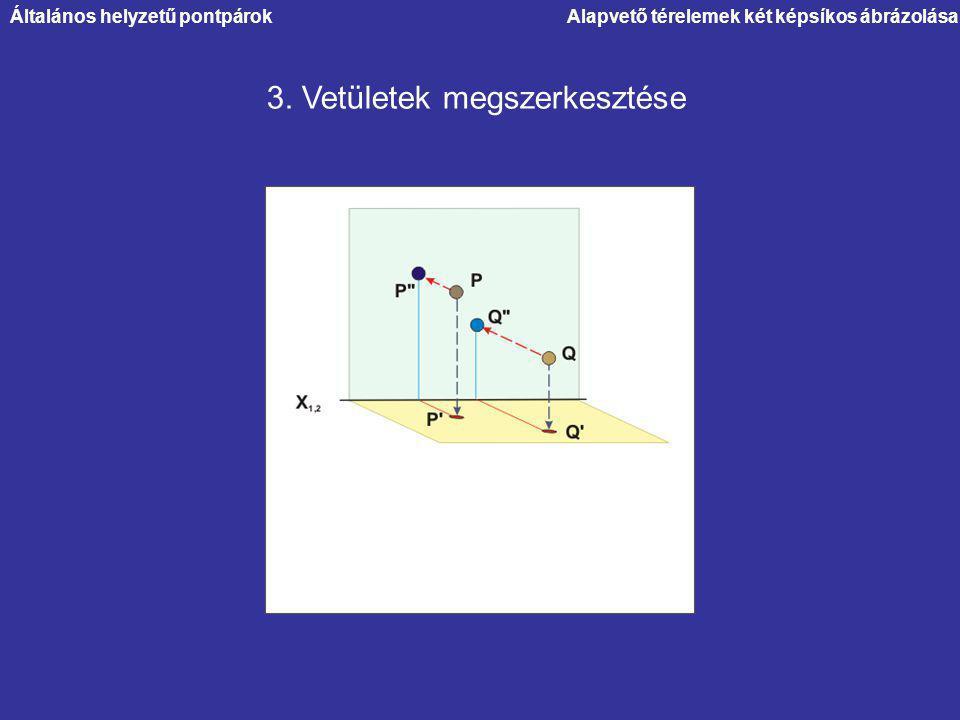 Alapvető térelemek két képsíkos ábrázolása 3. Vetületek megszerkesztése Általános helyzetű pontpárok
