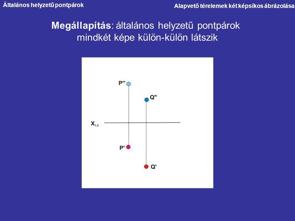 Alapvető térelemek két képsíkos ábrázolása Megállapítás: általános helyzetű pontpárok mindkét képe külön-külön látszik Általános helyzetű pontpárok