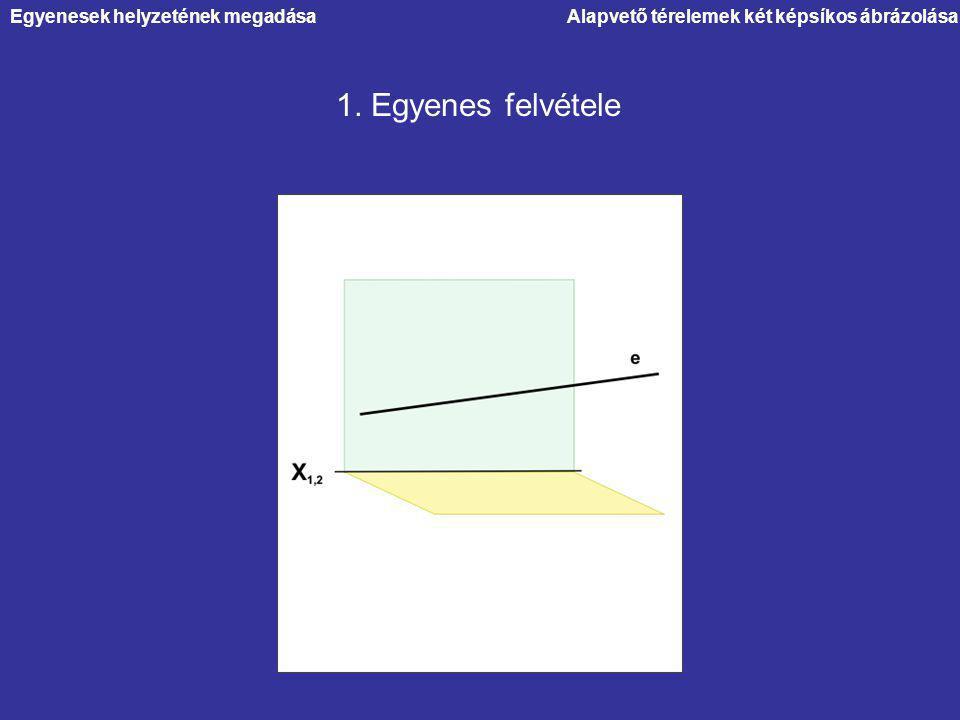 Egyenesek helyzetének megadásaAlapvető térelemek két képsíkos ábrázolása 1. Egyenes felvétele