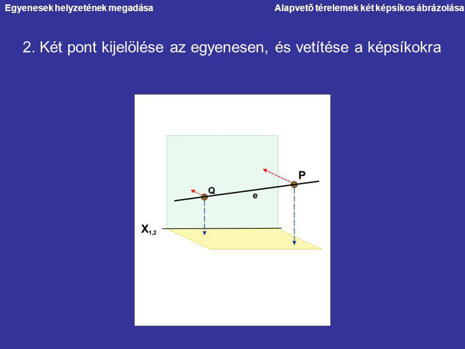 Alapvető térelemek két képsíkos ábrázolása 2. Két pont kijelölése az egyenesen, és vetítése a képsíkokra Egyenesek helyzetének megadása